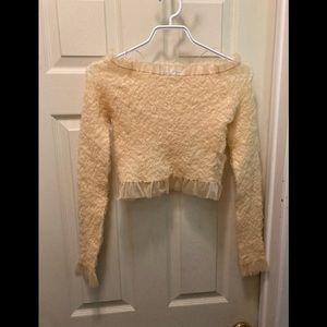 Zara ruffled off the shoulder crop top size small